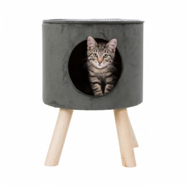 Abri grotte Livia avec pieds en bois Trixie pour chat