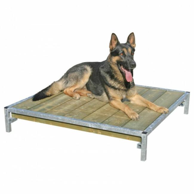 Banc de couchage en bois avec cadre acier pour chien