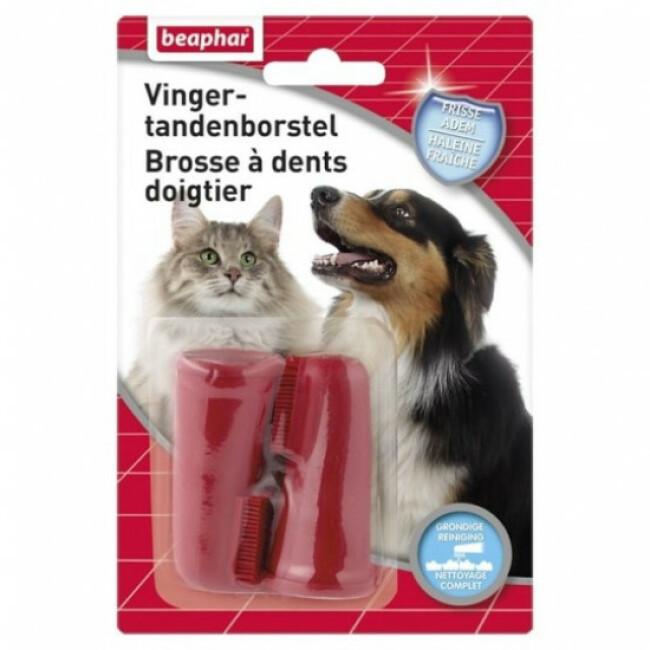 Brosse à dents en doigtier pour chat ou chien Beaphar