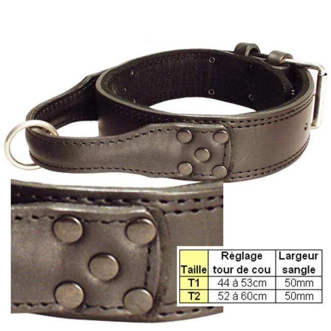 Collier cuir pour chien d'intervention