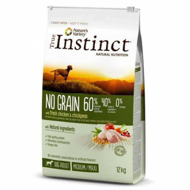 Croquettes True Instinct No Grain Medium Maxi Adult Poulet