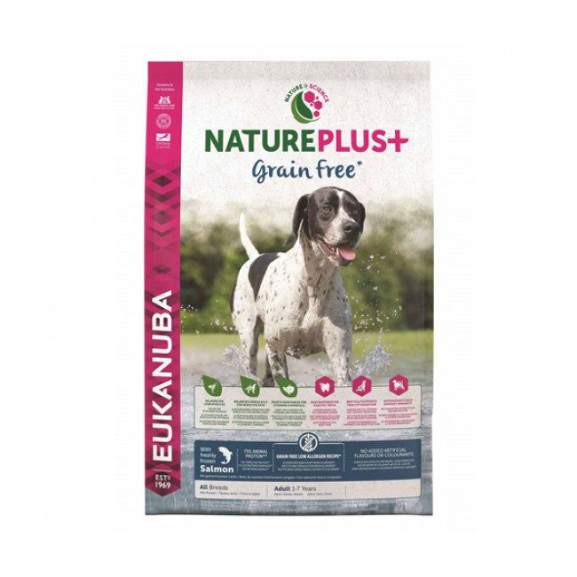 Croquettes Eukanuba Natureplus sans céréales Grain Free pour chien adulte au saumon