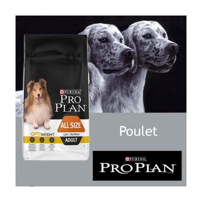 Croquettes Pro Plan chien adulte Light Sterilised poulet sac de 14 kg