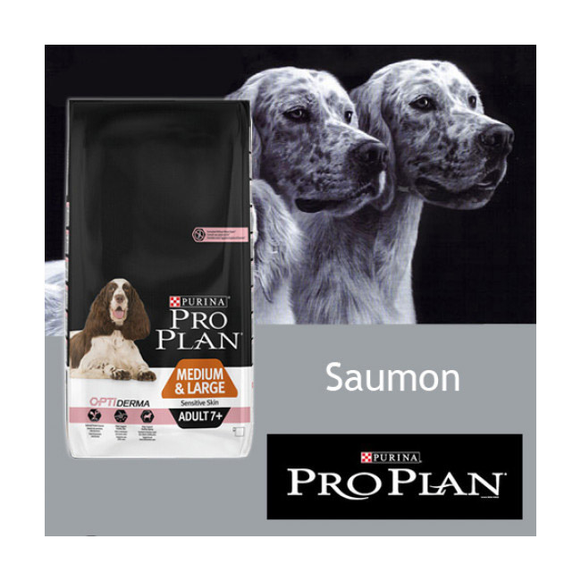 Croquettes Pro Plan chien Senior OptiDerma M/L Sensitive skin au saumon sac de 14 kg