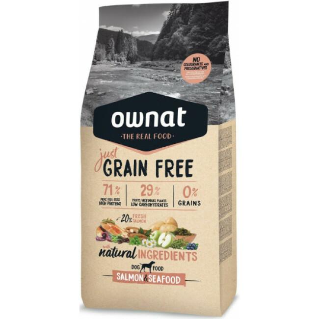 Croquettes sans céréales au poisson pour chien adulte Ownat Just Grain Free Sac 14 kg