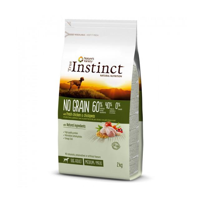 Croquettes sans céréales pour chien True Instinct No Grain Medium Maxi Adult Poulet