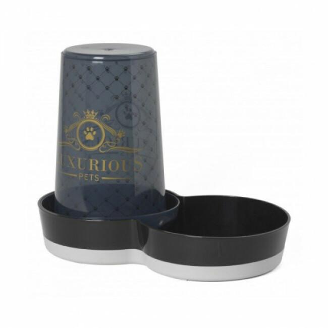 Distributeur d'eau ou de croquettes pour chat ou chien Anka sérigraphié Luxurious noir 1,5 L