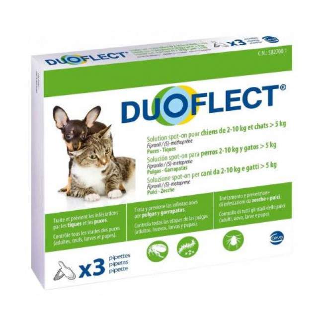 Duoflect Chat pipettes anti puces et anti tiques