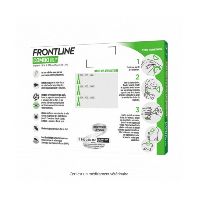 Frontline Combo Spot On soin antiparasitaire pour chats et furets