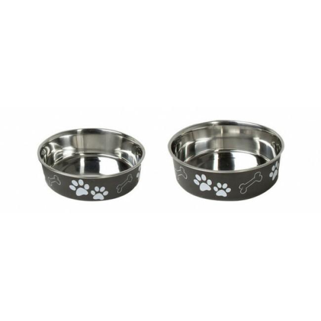 Gamelle en acier inox pour chien et chat avec motifs et anti-dérapante Karlie noire