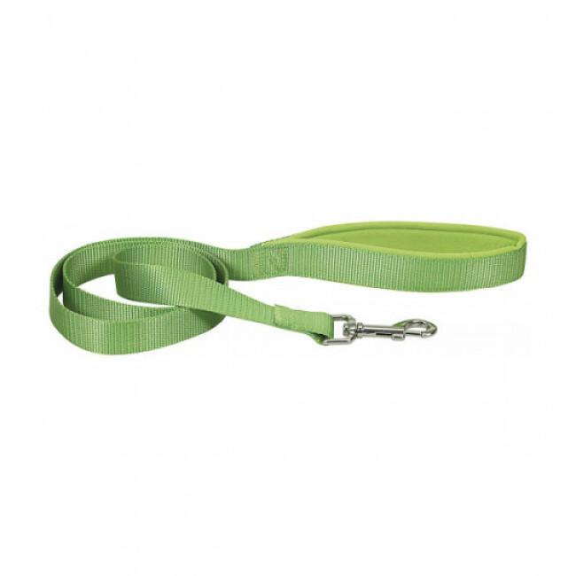Laisse sangle nylon avec poignée confort pour chien Chapuis Sellerie verte