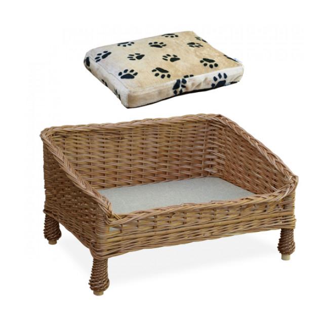 Lit canapé en osier pour chien et chat