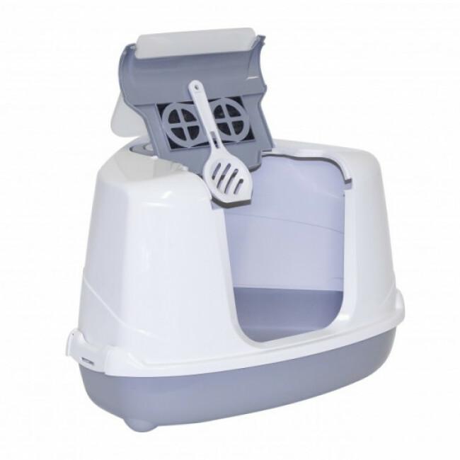 Maison de toilette d'angle pour chat Cozy Corner grise et blanche