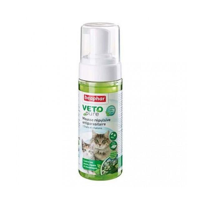 Mousse répulsive antiparasitaire Vetopure Beaphar pour chat et chaton 150 ml