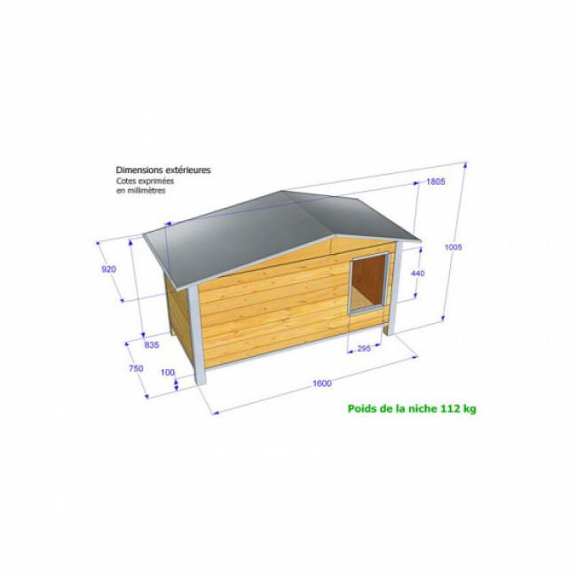 Niche d'extérieur isolée confort avec toit double pan