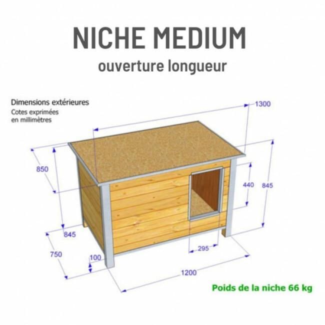 Niche isolée en bois avec toit plat pour chien
