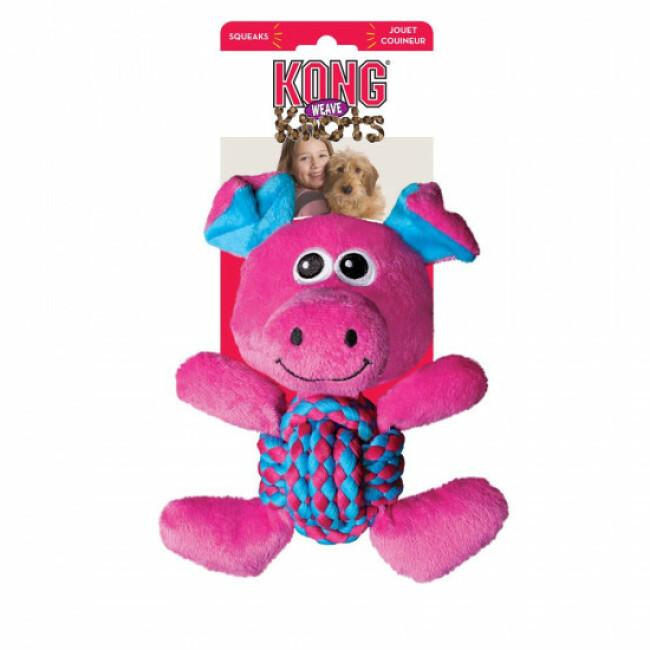 Peluche cochon avec corde pour chien KONG Weave Knots