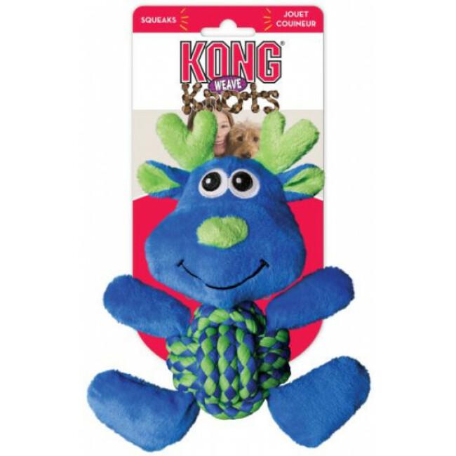 Peluche élan avec corde pour chien KONG Weave Knots
