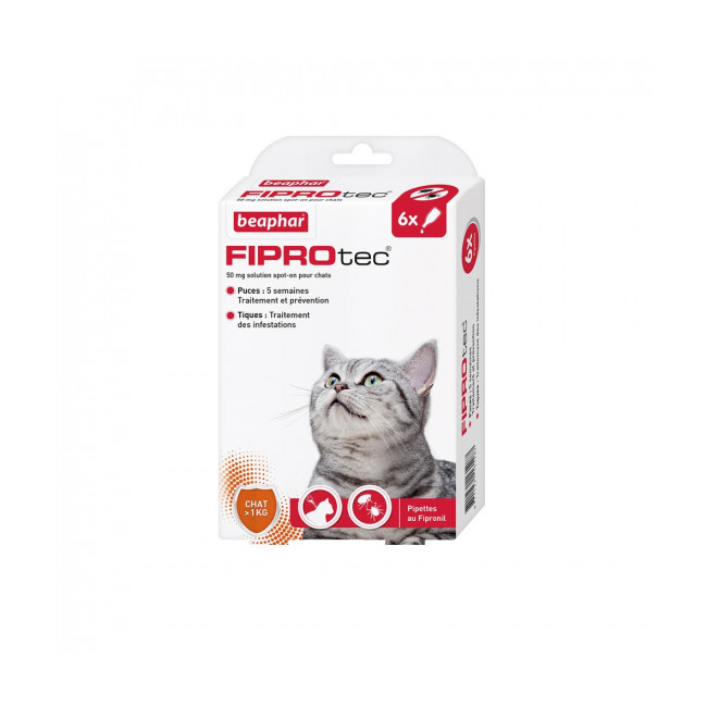 Pipettes antiparasitaires Fiprotect spot on Beaphar pour chat