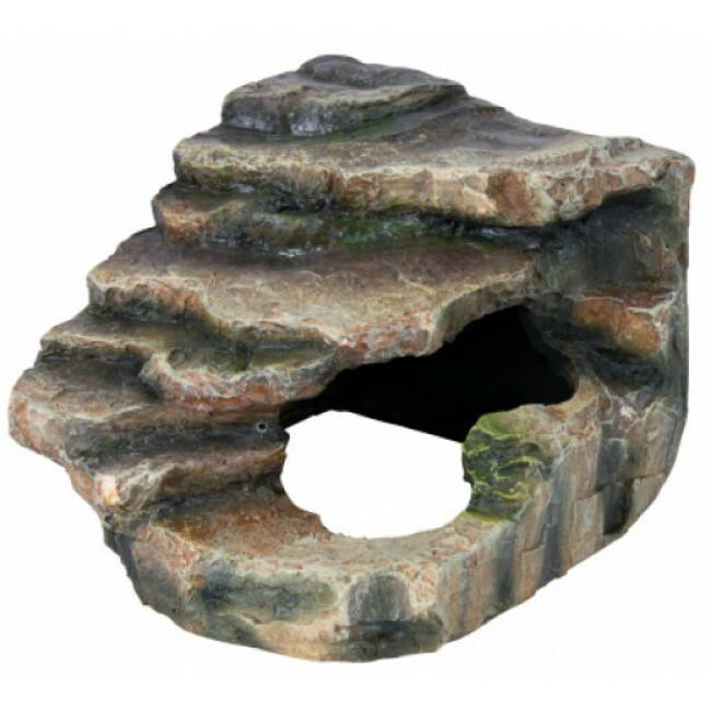 Rocher d'angle avec grotte et plateforme pour reptiles Trixie