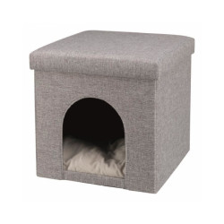 Abri à chat en tissu gris 38 x 40 x 38 cm Alois Trixie