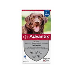 Advantix soin antiparasitaire pour chiens 25/40 kg Boîte de 4 Pipettes
