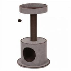 Arbre à chat avec étage et abri York en tissu gris - hauteur 80,5 cm