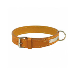 Collier cuir traditionnel luxe chien T1 Naturel