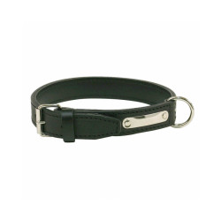Collier cuir traditionnel luxe chien T1 Noir