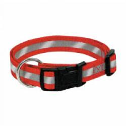 Collier réglable rouge nylon réfléchissant pour chien 40/65 cm