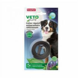 Collier VETOpure répulsif antiparasitaire réfléchissant grand chien- Noir
