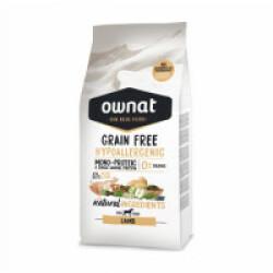 Croquettes chien sensible Ownat Grain Free Hypoallergenic Adulte sans céréales Agneau Sac 3 kg