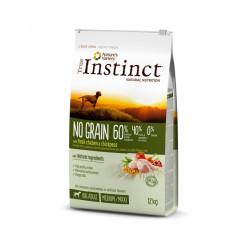 Croquettes sans céréales pour chien True Instinct No Grain Medium Maxi Adult Poulet Sac 12 kg