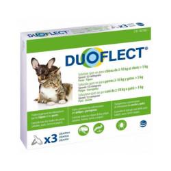 Duoflect Chat pipettes anti puces et anti tiques Pour petit chien 2 à 10 kg et chat > 5 kg 3 pipettes