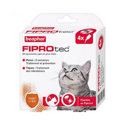 Pipettes antiparasitaires Fiprotect spot on Beaphar pour chat > 1 Kg 4 pipettes 0.50 ml