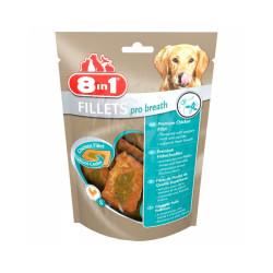 Friandises pour chien contre la mauvaise haleine saveur poulet 8 in 1 Fillets Pro Breath 80 g