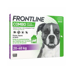 Frontline Combo Spot On soin antiparasitaire pour chiens 20/40 kg Boîte 4 Pipettes