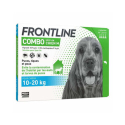 Frontline Combo Spot On soin antiparasitaire pour chiens 10/20 kg Boîte 4 Pipettes