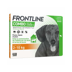 Frontline Combo Spot On soin antiparasitaire pour chiens 2/10 kg Boîte 4 Pipettes