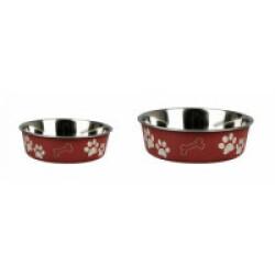 Gamelle rouge en acier inox anti-dérapante avec motifs Karlie pour chiens Diamètre 14 cm Contenance 500 ml