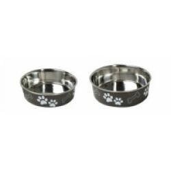 Gamelle en acier inox pour chien et chat avec motifs et anti-dérapante Karlie noire Diamètre 14 cm Contenance 500 ml