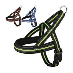 Harnais noir / vert fluo-réfléchissant Fluoref™ de sport et promenade pour chien T1 SM