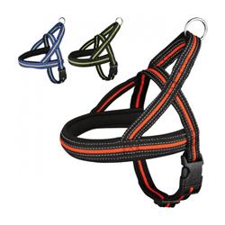 Harnais noir / orange fluo-réfléchissant Fluoref™ de sport et promenade pour chien T1 SM