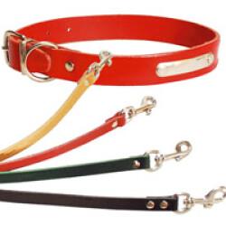 Laisse fine pour chien en cuir simple rouge lg 1 m sangle 12 mm