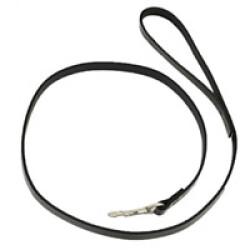 Laisse fine pour chien en cuir simple noire lg 1 m sangle 12 mm