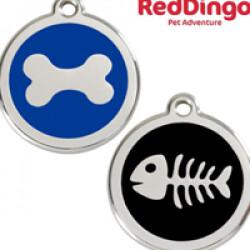 Médaille Reddingo à personnaliser chien, chat et maître 20 mm os bleu