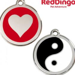 """Médaille Reddingo à personnaliser chien, chat et maître 20mm """"cœur"""" rouge"""