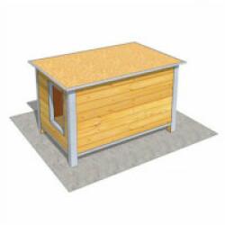 Niche isolée en bois avec toit plat pour chien Medium ouverture largeur - 120 x 75 x 75 cm