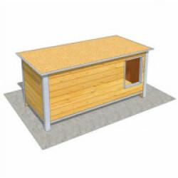 Niche isolée en bois avec toit plat pour chien Maxi - 160 x 75 x 75 cm