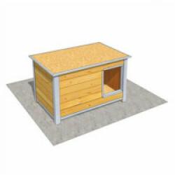 Niche isolée en bois avec toit plat pour chien Mini - 92 x 68 x 60 cm